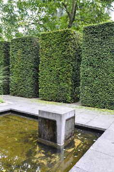 Garden Inspiration: Mien Ruys, Thinking Outside the Boxwood Landscape Architecture Design, Green Architecture, Water Garden, Lawn And Garden, Boxwood Plant, Evergreen Hedge, Garden Fencing, Fence, Topiary Garden