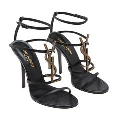 4dad47c4994 Shop Saint Laurent Black LEATHER Cassandra leather sandals for Women at  Level Shoes in Dubai mall or Buy Online and Pay Cash on delivery in UAE,  KSA, ...