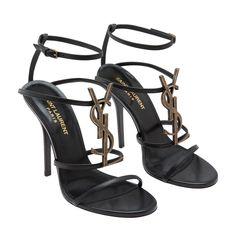 058dbfeb739 Cassandra leather sandals Women Black Ysl Heels, Shoes Women, Strap Sandals,  Leather Sandals