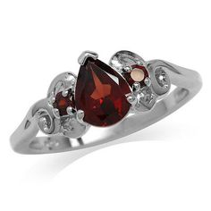 1.36ct. Natural Garnet 925 Sterling Silver Victorian Style Ring Jewelry Rings, Jewelry Watches, Garnet Stone, Solitaire Ring, Victorian Fashion, Heart Ring, Cuff Bracelets, Silver Rings, Sterling Silver