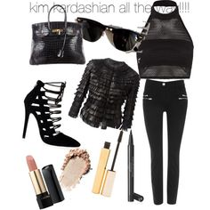 a little kardashian inspired set...... by shivangi-ss on Polyvore featuring polyvore fashion style Boohoo Giorgio Armani Wallis Hermès Lancôme Chanel Stila Ray-Ban