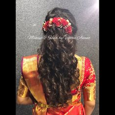 Gorgeous bridal hairstyle for engagement. Hairstyle by MUA Vejetha for Swank. Bridal updo. Indian bridal hairstyle. Curls with flowers. Bridal silk saree. Saree blouse design.