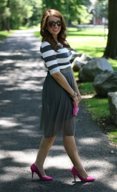 Striped top, tulle skirt dress, pink shoes
