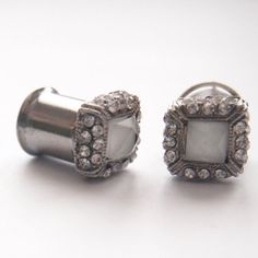 00g 10mm  Sassy Squared  Rhinestone 316L Surgical by Glamsquared, 22.50