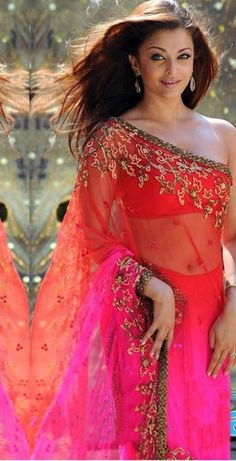 Orange and Pink Net Bollywood Saree