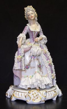 "[""My violet lady, donned in lace, full of poise and fragrant grace. Dresden Porcelain, Fine Porcelain, Porcelain Ceramics, Porcelain Doll, Ceramic Bowls, Ceramic Art, Royal Doulton, Dresden Dolls, Half Dolls"