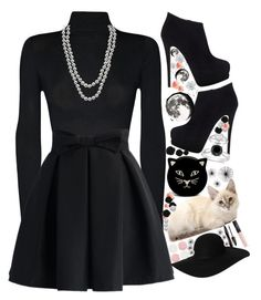 """""""Darling in Black"""" by gabbro ❤ liked on Polyvore featuring mode, WearAll, Henri Bendel, Chicwish, Giuseppe Zanotti, Ice, Alyssa Jewels, Accessorize, Daum et Charlotte Olympia"""