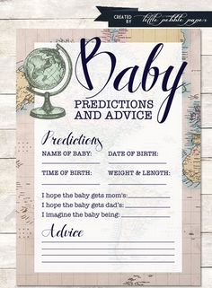 Beautiful Predictions for Baby Printable  PDF comes with two predictions cards per 8.5x11 size page; print as many as you like  <<< Ask about
