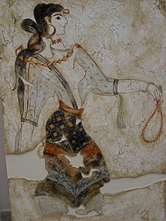 Fresco of Minoan maiden with prayer beads. Around 2700 to 1450 BC. The Minoan civilization flourished as a seafaring and mercantile culture. This vibrant culture was centred around the island of Crete. Greek History, Ancient History, Art History, Creta, Ancient Greek Art, Ancient Greece, Bronze Age Civilization, Minoan Art, Art Ancien