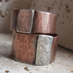 Mens ring of rustic copper and sterling by tinahdee on Etsy,