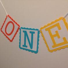 First Birthday Banner ~ ONE Orange Aqua Yellow Party Banner ~ First Birthday Party Decorations, High Chair Banner, First Birthday Party