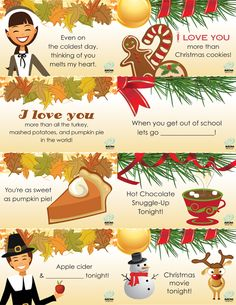 Christmas Lunchbox Notes – iMom Thanksgiving and Christmas Lunch Notes….of course I do my own but sometimes these would work good in those busy mornings (: Notes For Kids Lunches, Lunch Notes, Kids Meals, Christmas Lunch, Christmas Holidays, Christmas Morning, Christmas Ideas, Holiday Crafts, Holiday Fun