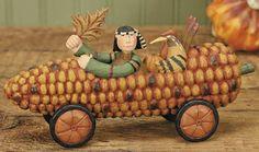 Indian and Turkey Corn Cob Car Figurine – Harvest Folk Art Figurines & Thanksgiving Collectibles – Williraye Studio $24.99