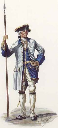 Officer of Le regiment de Languedoc in Full Dress, 1758. (artist: R.J. Marrion - copyright:Canadian War Museum)