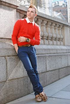 love the orange sweater, don't think I could get J to go for the leopard loafers though, lol
