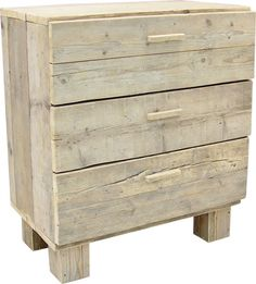 Ladekast commode 3 of 4 lades en pootjes steigerhout (23131430P) - 340 euro