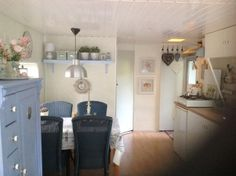 painted interior - much brighter Caravan Makeover, Caravan Renovation, Shabby Chic Caravan, Glamping, Van Design, Shepherds Hut, Caravans, First Home, Interior Paint