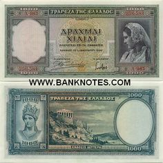 Greece 1000 Drachmai 1939 Obverse: Greek woman in a national dress; Medusa Pictures, Lion Pictures, Horse Pictures, Greek Drachma, Money Notes, Greece Photography, Costumes Pictures, Temple Pictures, Gold And Silver Coins