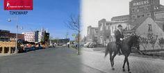 Toen en nu. 1954 - 2014. Alkmaar. De Kanaalkade met rechts de Ringers Chocoladefabriek. Op het paard zit dhr. Ringers.