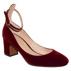 Women's Angelique Velvet Quarter Strap Pumps Who What Wear - Wine 8.5, Red
