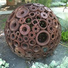 Welded gears make an awesome ball for yard art.