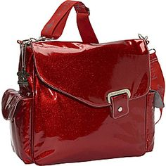 Red patent diaper bag