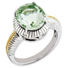 Two Tone Gold Sterling Silver Oval Cut Green Quartz Ring Jewelry Available Exclusively at Gemologica.com