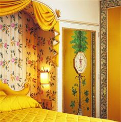 The Master Bedroom of the Oliver Messel suite. In Oliver Messel was commissioned to design the interior of a suite in the Dorchester Hotel in London The Dorchester, Yellow Interior, Commercial Design, Closed Doors, Home Look, Old Houses, Master Bedroom, Cottage, Interior Design