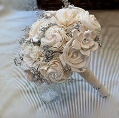 Handmade Wedding Bouquet Small-Handmade Flower, Bridal Bouquet, Keepsake Bouquet, Shabby Chic Wedding, Rustic Wedding. $70.00, via Etsy. by letha