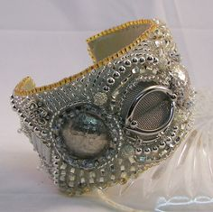 Silver Remake Beaded Cuff by beadsandblooms on Etsy, $125.00