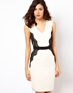 Wedding Prep: 23 Dresses Perfect For Your Rehearsal Dinner: The body-con silhouette of this Warehouse Lace Overlay Pencil Dress ($108) is just the right amount of sexy, and we're loving the slick two-tone contrasts.