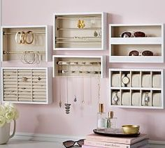 Shop Pottery Barn for our selection of wall organizers and wall shelves. Find wood and metal modular storage systems and add organization to any room. Paper Storage, Wine Storage, Closet Storage, Closet Organization, Jewelry Organization, Jewelry Storage Solutions, Closet Wall, Organization Ideas, Closet Solutions