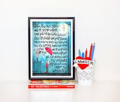 Umbrella Typography Lyrics Poster Pop Song by DrawMeASong on Etsy