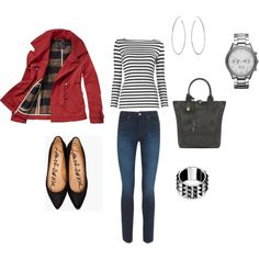 Casual Weekend look...love the watch and the red coat!