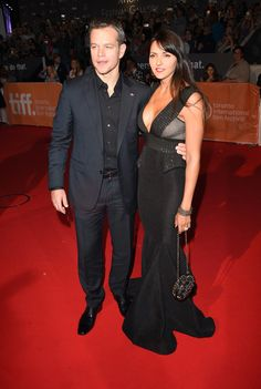 """Actor Matt Damon and his wife Luciana Barroso attend """"The Martian"""" premiere during the 2015 Toronto International Film Festival at Roy Thomson Hall on September 11, 2015 in Toronto, Canada."""