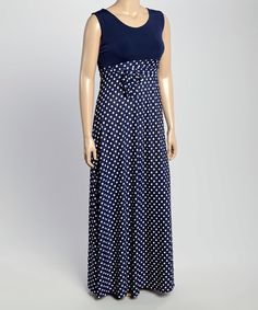 Another great find on #zulily! Navy Polka Dot Maxi Dress - Plus #zulilyfinds