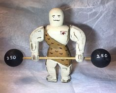 Estate 1989 Wolf Creek Folk Art Wooden Weightlifter Moving Arms Signed Figure