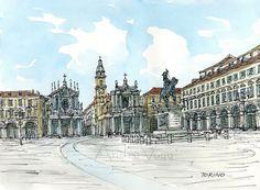 Torino Piazza San Carlo Italy art print from an original watercolor painting