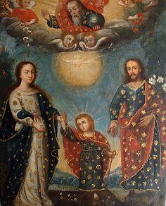 "cuadro ""Sagrada Familia"" Esc. Cuzqueña, siglo XVIII, oleo/lienzo."