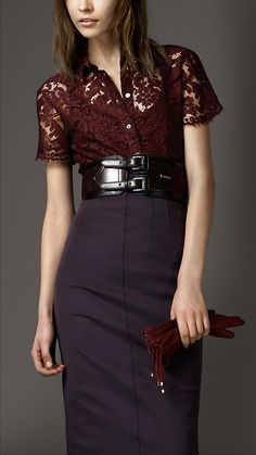 Yes.  This is fashion.  Beauty with out full disclosure.  What is it with this wide McQueen-esque... above the waist belt?  It's really quite a flattering touch.    Burberry London Scallop Edge Lace Shirt