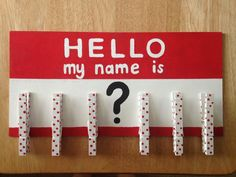 Need a place to put those inevitable No Name papers you collect from your students? This adorable name tag-inspired board has six clothespins to hang up those nameless papers for students to claim. The board/clothespins were painted with acrylic paint and sealed with a polyurethane spray. The board is made out of sturdy birch plywood and is 1/4 inch or 1/8 inch thick, depending on my supply inventory. With clothespins included, the dimensions of this item are approximately 11...