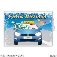 Postal de Navidad Tarjeta De Felicitación  #navidad #animales #cartoon #christmas #Papa Noel #Rudolf #pascuas #natividad