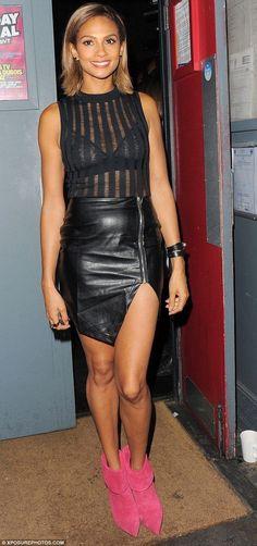 Alisha Dixon, Britain's Got Talent, Tv Girls, Girls In Mini Skirts, Leather Mini Skirts, Beautiful Legs, Sexy Legs, Shorts, Mannequin