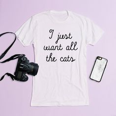 I Just Want All the Cats Crewneck Tee Graphic Tee Triblend Funny... ($18) ❤ liked on Polyvore featuring tops, t-shirts, white, women's clothing, graphic design t shirts, white crew neck shirt, graphic tees, cat t shirt and cat shirts