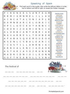 Free Spanish Speaking Countries puzzles & other worksheets from PrintableSpanish.com
