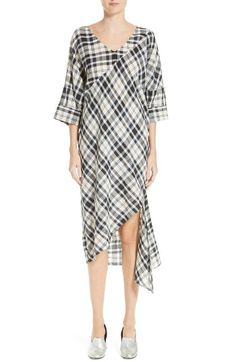 $426 Free shipping and returns on Rachel Comey Grateful Plaid Cotton Shift Dress at Nordstrom.com. A bias-cut swath of plaid winds itself through the middle of this beautifully draped shift with an off-kilter silhouette, asymmetrical hem and cheery plaid print.