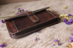 Vegetable tanning leather wallet vintage by MagicLeatherStudio