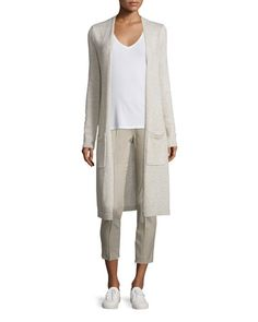 -6FK3 Theory  Torina C Linen/Cashmere Long Cardigan Alettah Ainsley Check Cropped Pants