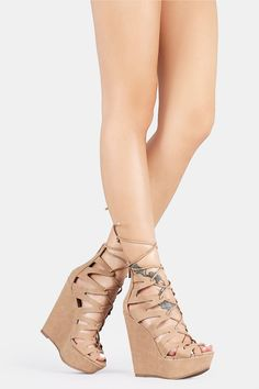 Caged Lace Up Platform Wedges - Bare Feet Shoes - 1