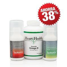 El pack promocional que te interesará: Multivitaminas de Isotonix (30 unidades); Complejo B activado de Isotonix (30 unidades); y aceite de pescado Omega III Essential de Heart Health con vitamina E (60 unidades)